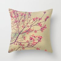 Vintage Pink Dogwood Tree in Flower Throw Pillow