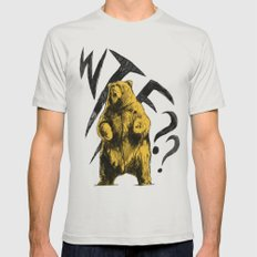 WTF Bear Mens Fitted Tee Silver SMALL