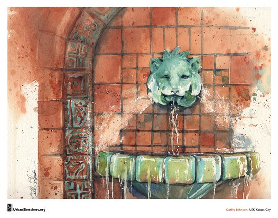 "Cathy Johnson, ""Hall of Waters Lion"" Canvas Print"