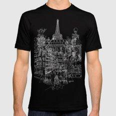 Paris B&W (Dark T-shirt version) SMALL Mens Fitted Tee Black