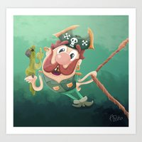 Barry the Buccaneer & his moody mate Cuckachoo Art Print
