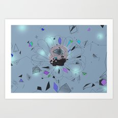 party flower - blue Art Print
