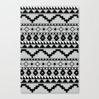 Aztec Pattern 2 Gray & B… Canvas Print