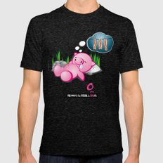 Berto: The Mental-issue pig taking a nap Mens Fitted Tee Tri-Black SMALL