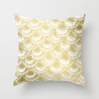 Organic Burst Gold Throw Pillow