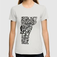 Typographic Vermont Womens Fitted Tee Silver SMALL
