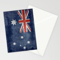 The National flag of Australia, retro textured version (authentic scale 1:2) Stationery Cards