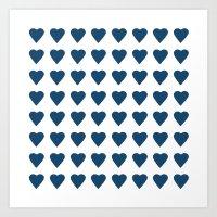 64 Hearts Navy Art Print