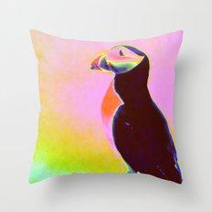 Magic Pink Puffin Throw Pillow