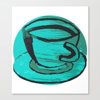 tea cup in green Canvas Print