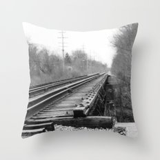 Railroad Tracks Black and White Photography Throw Pillow