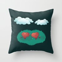 Hearts in the Clouds Throw Pillow