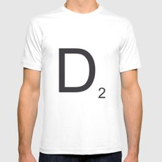 Scrabble D White Mens Fitted Tee SMALL