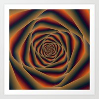 Tunnel Spiral in Orange Blue and Violet Art Print