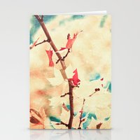Autumn (Leafs in a textured and abstract sky) Stationery Cards