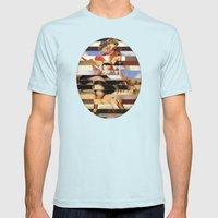 Glitch Pin-Up Redux: Daisy Mens Fitted Tee Light Blue SMALL