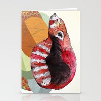 panda Stationery Cards featuring Red Panda by Sandra Dieckmann