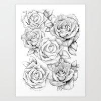 roses Art Prints featuring roses by iphigenia myos