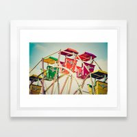 Colorful Ferris Wheel Cars Framed Art Print