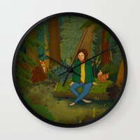 Chilling in the Woods Wall Clock