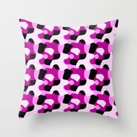 Pink Camo Pattern Throw Pillow