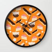 sweet things (on orange) Wall Clock