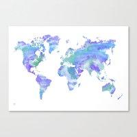 Watercolour World Map (b… Canvas Print
