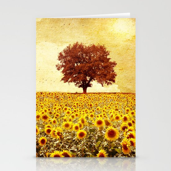 lone tree & sunflowers field Stationery Card