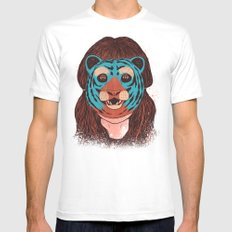 Tiger Face SMALL White Mens Fitted Tee