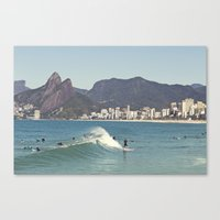 Surfing on Ipanema Beach Canvas Print
