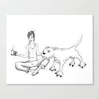 A Girl & Her Dog Canvas Print