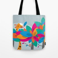 Orange And Trees Tote Bag