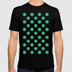 Polka Dots (Mint/White) Mens Fitted Tee Black SMALL