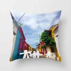 C for Cartagena Fun Cut Out Cartagena Street Print Throw Pillow