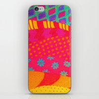 THE FASHIONISTA - Bright Vibrant Abstract Waves Mixed Media Whimsical Fashion Fabric Pattern iPhone & iPod Skin
