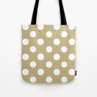 Polka Dots (White/Sand) Tote Bag