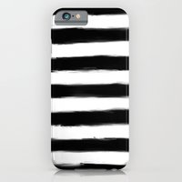 iPhone & iPod Case featuring Black Paint Strokes Stripes by Rachel Follett