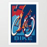 Bike Hard Retro Cycling Print Art Print