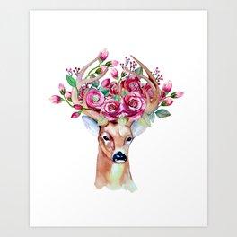Art Print - Shy watercolor floral deer - Peggie Prints