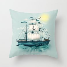 The Whaleship Throw Pillow