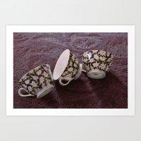 Pink Flowered Teacups Art Print