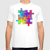 Autism Colorful Puzzle Pieces Mens Fitted Tee White SMALL
