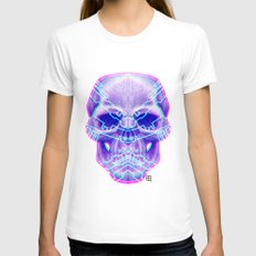 Cyber Skull Womens Fitted Tee White SMALL