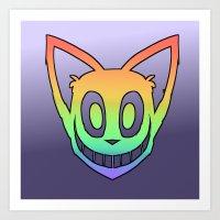 Rainbow Cat Head (black outline) Art Print