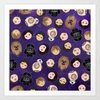 Stars W Pattern Art Print