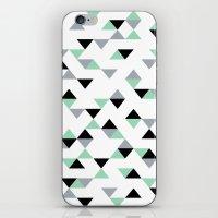 Triangles Mint Grey iPhone & iPod Skin