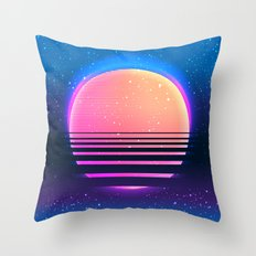 Retro vintage 80s or 90s geometric style abstract art Throw Pillow
