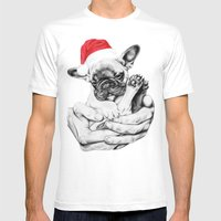 Festive Frenchie Mens Fitted Tee White SMALL