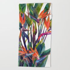 The bird of paradise Beach Towel