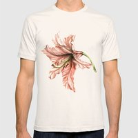 Pink Lily Flower Watercolor Mens Fitted Tee Natural SMALL